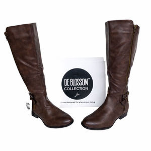 DE Blossom Brown Pita Knee High Wide Calf Boots 11